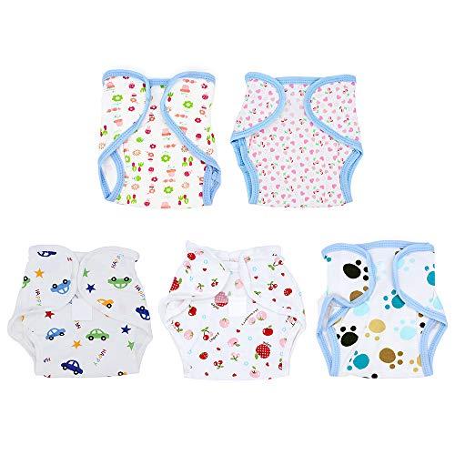 Yuhtech 5 Pack Wiederverwendbares Windel-Set, Babywindelbezug aus Baumwolle, Wiederverwendbare Waschbare Windel
