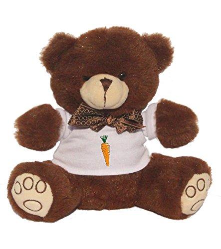 Teddybär mit einem T-Shirt mit der Grafik: Karotte