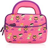 7 - 8 inch Kid Tablet Sleeve, Evecase Cute Fairy Tale Princess Themed Neoprene Carrying Sleeve Case Bag For 7 - 8 inch Kid Tablets (Pink & Purple Trim, With Dual Handle and Accessory Pocket)