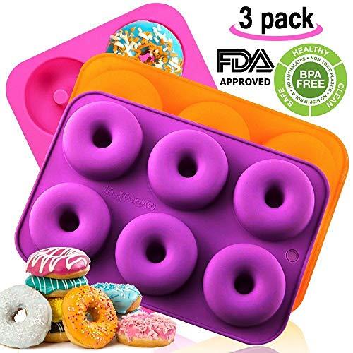 Amison Donut-Backform, Silikon, antihaftbeschichtet, spülmaschinenfest, ofenfest, mikrowellen-, gefrierschranksicher, BPA-frei, Backen in voller Größe, perfekte Form von Donuts, 3 Stück