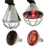 Koll Living Infrarot-Wärmestrahlgerät 150W mit / ohne Leuchtmittel , Kückenlampe, Schweinelampe (5,0 m Kabel - mit Sparschalter 150 W Rotlampe)