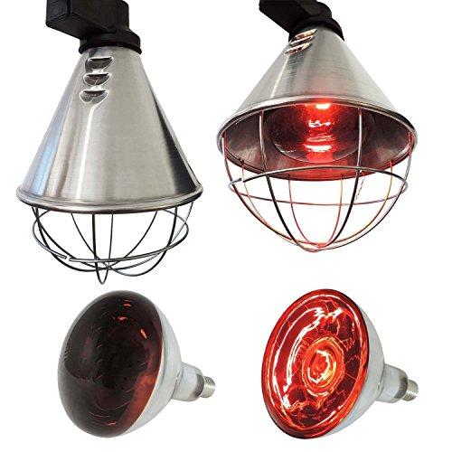Koll Living Infrarot-Wärmestrahlgerät 150W mit / ohne Leuchtmittel , Kückenlampe, Schweinelampe (5,0 m Kabel - kein Sparschalter)