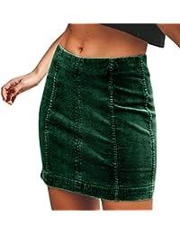 ZARLLE Falda Corta para Mujeres Moda Cintura Alta Delgado Bandas Minifalda Primavera Verano Moda Corto Vestidos
