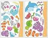 Samunshi® 34-teiliges Lustiges Fisch Wandtattoo Set Wal Hai Wandsticker Kinderzimmer in 5 Größen (2x16x26cm Mehrfarbig)