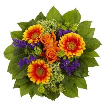 """floristikvergleich.de Blumenstrauß """"Athena"""" mit Gerbera und Edelrosen"""