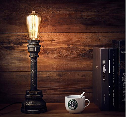 FSLiving Jahrgang industrielle Stil Rustikal Tischlampe , Wasserrohr Arm Beleuchtungskörper , schwarzer Schnur, Eisen-Stand, E27 / E26 Halter Kit Set (LED-Birnen-Licht-Glas nicht im Lieferumfang enthalten) (Birne Stand)