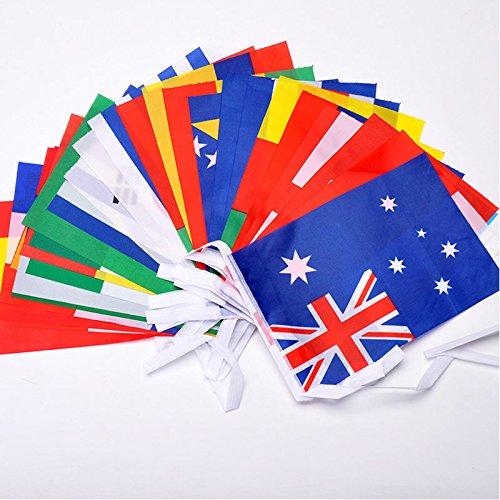Jijacraft 25 m bandiera internazionale bandiere, 21 * 14 cm bandiere del mondo, bandiere nazionali stringa bandiere con 100 paesi diversi per le decorazioni del partito