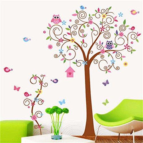 Preisvergleich Produktbild zooarts farbigen Cartoon Big Bend Baum Eule abnehmbar Wandaufkleber Vinyl Aufkleber Kinder Kind Zimmer Schlafzimmer Wandbild