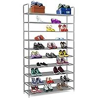 Halter - Zapatero de estantes apilables de 10niveles de acero inoxidable - Capacidad para de 50 pares de zapatos–99,4 x 28,25 x 176,5 cm.Color negro