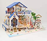 JUNJUNA DIY Cabina Modello Assemblato Mediterraneo Villa 3D Puzzle Inviare Femmina Regalo di Compleanno Blu Mare Leggenda Copertina