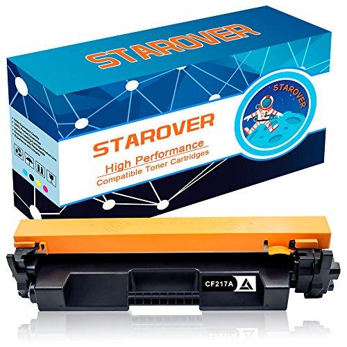 STAROVER 1x Kompatible Schwarze Tonerkartuschen Ersatz für CF217A (17A) Toner (Mit Chips und Toner Füllstandsanzeige) für HP LaserJet Pro M102w M102a MFP M130nw MFP M130fw MFP M130fn MFP M130a Drucker, 1600 Seiten