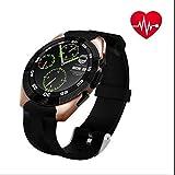 Sport Smart Watch, USB ricaricabile impermeabile torcia LED, chiamate e messaggi vibrazioni, schermo HD IPS LCD rotonda sport orologio, orologio attività passo Walking Sleep contatore, Gold