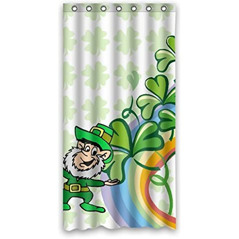 St. Patrick's Day Series Custom Waterproof Fabric Bathroom Shamrock Irish Clover Leprechaun Shower Curtain 36