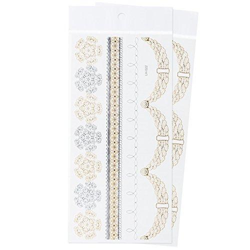 Zooky® Catenella da braccio e gamba Fiocco di neve Gioielli Tatuaggi temporanei impermeabili, adesivi metallici per corpo LH-022, set 2 pezzi, Dorato