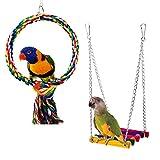 Bwogue Vögel Seil Swing, Holz Wellensittich Toys Pet Vogelkäfig Hängematte Schaukel Spielzeug zum Aufhängen für kleine Sittiche Nymphensittiche, sittichen, Aras, Papageien, Love Birds, Finken (2 Pack)
