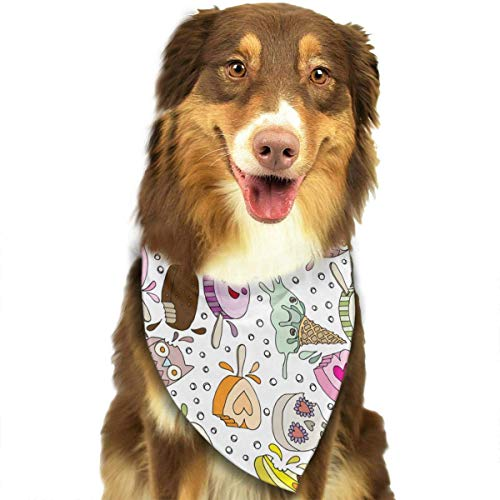 Rghkjlp Dogs Bandana Collars Cute Halloween Ice Cream Pets Triangle Neckerchief Puppy Bibs Scarfs Cats Scarfs Towel