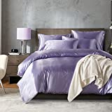 Bonner Bettwäsche Set Solid Color Simulierte Seide Bettbezug Kissenbezug Bettwäsche-Sets,Purple,Double