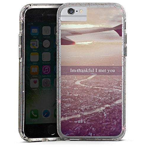 Apple iPhone 6 Bumper Hülle Bumper Case Glitzer Hülle Airplane Flugzeug Urlaub Bumper Case Glitzer rose gold