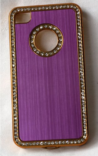 iPhone 4/4S Case Cover Coque de Protection Rigide Strass Chromé + 2protecteur d'écran al480s - lilas