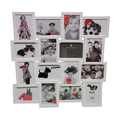 Cadre photo pêle-mêle mural capacité 16 photos - Coloris BLANC