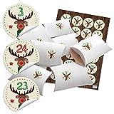 24 kleine Geschenkschachteln Geschenk-Boxen Kartons Holz Optik weiß 14,5 x 10,5 cm, 3 cm hoch + Aufkleber Adventskalender-Zahlen