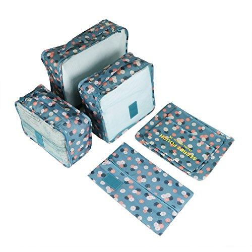 Malayas Kleidertaschen Set 7-teilig Reisetasche in Koffer Reisegepäck OrganizerWäschebeutel Schuhbeutel Kosmetik Aufbewahrungstasche Farbwahl, Blaue Blume