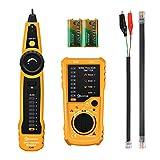 EIVOTOR Kabeltester RJ45 RJ11 Netzwerk LAN Telefonkabel Tester Wire Tracker Draht Verfolger Ethernet Kabelsucher Leitungssucher Kabelfinder Durchgangsprüfung Leitungsdetektor mit Lampe und Ohrhörer