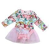 IZHH Kinder MäDchen Rock MäDchen Langarm Pony Kleid Kleid Mesh Rock Rosa 70-100 Neugeborenen Baby MäDchen Spielanzug Playsuit Kleidung Outfits Kleidung(Rosa,100)
