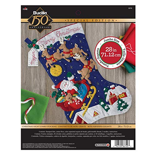 Bucilla 86740Christmas Night Jumbo Weihnachtsstrumpf-Applikation aus Filz, Mehrfarbig (Weihnachtsstrumpf Filz Kit)