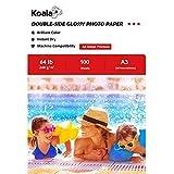 KOALA - Carta fotografica lucida fronte-retro per stampante a getto d'inchiostro,A3, 297x420 mm, 100 fogli, 240 g/m2