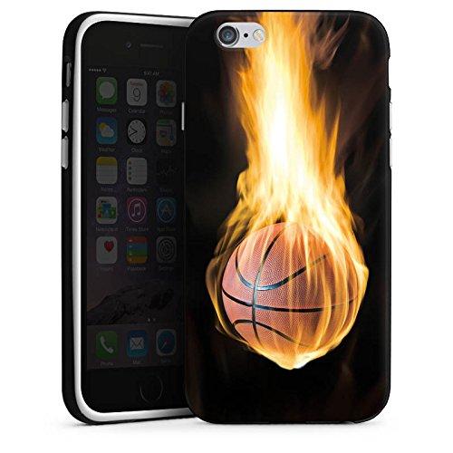 Apple iPhone X Silikon Hülle Case Schutzhülle Basketball Feuer Flammen Silikon Case schwarz / weiß