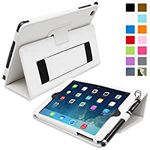 Snugg iPad Mini & Mini 2 Case - Smart Cover with Flip Stand & Lifetime Guarantee (White Leather) for Apple iPad Mini & Mini 2 with Retina