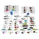 Dr.Fish Fishing Lure lavoro lotto 60 trota pesce persico filatori Pike cucchiai Soft plastica Lure Shad Popper Crankbaits in 5 pesca attrezzatura scatole
