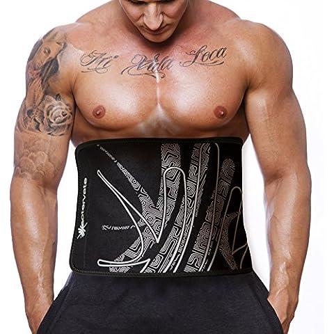 Actervate - Trimmer cintura Cinturón Negro 127cm delgado del corsé y Cinturones de sudor entre mujeres y hombres - mejor vientre de la hornilla de la correa, correa de cintura, apoyo para la espalda, entrenamiento de los músculos abdominales, adelgazamiento y pérdida de peso de la correa. Mini Traje