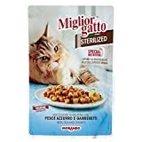 Miglior Gatto Sterilized Bocconcini in gelatina con pesce azzurro e gamberetti multipack 24 x 85 Grammi