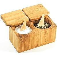 Caja para Especias de Bambú para Sal & Pimienta con Cucharas - Madera 100% Orgánica - Ecológica – Pote para servir de 2 partes para Hierbas y Especias - Productos Mantaro