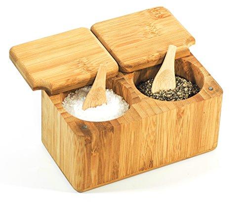 Mantaro Product Bambus Gewürzdose, Salz & Pfefferstreuer Halter, 100% organisches Holz, Umweltfreundlich - Perfekt für Kräuter und Gewürze