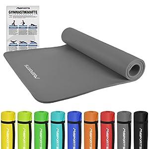 Gymnastikmatte Premium inkl. Übungsposter + Tragegurt + Workout App GRATIS | Hautfreundliche – Phthalatfreie Fitnessmatte 190 x 60 x 1,5 cm oder 190 x 100 x 1,5 cm – in verschiedenen Größen und Farben | Yogamatte