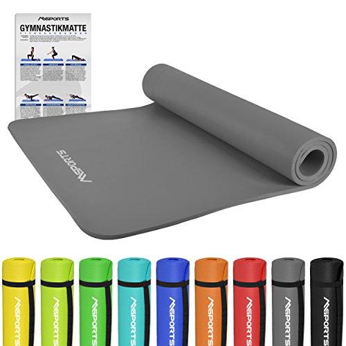 Gymnastikmatte Premium   inkl. Übungsposter   Hautfreundliche - Phthalatfreie Fitnessmatte - Anthrazit - 190 x 100 x 1,5 cm - Sehr weich - Extra dick   Yogamatte