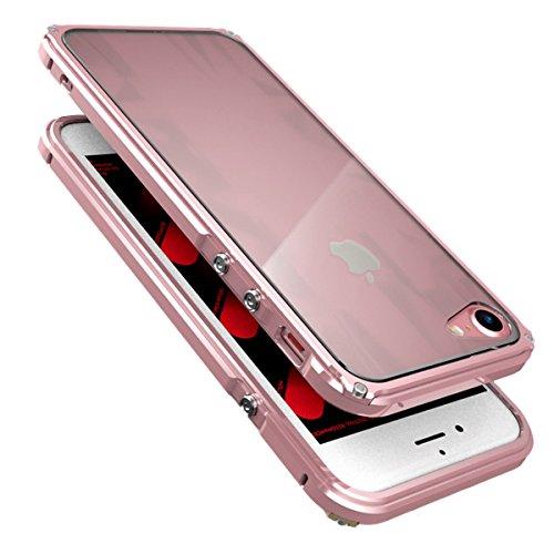 """iPhone 7 Coque ,SHANGRUN Aluminium Metal Frame Bumper Coque + Dazzle couleur PC Matériel Protictive Couvercle housse Etui Protection Case pour iPhone 7 4.7"""" / iPhone 8 Rouge+Rouge Rose Or"""