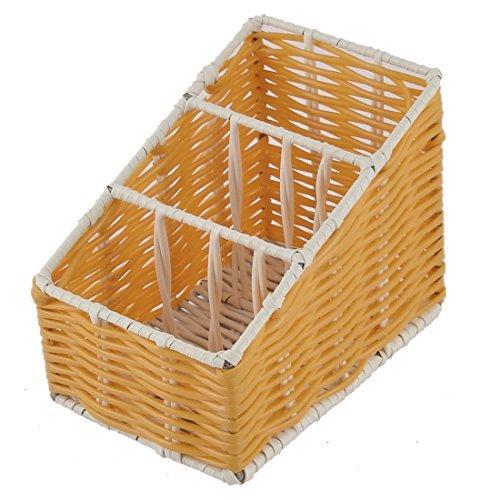 DealMux Plastic Desk 3 Grids Woven-Organisator-Aufbewahrungsbehälter-Kasten-Korb orange -