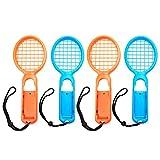 Likecom Tennis Rackets für Nintendo Swith Joy-Con Controller,2 Paare Zubehör für Mario Tennis Aces Game - Orange + Blau