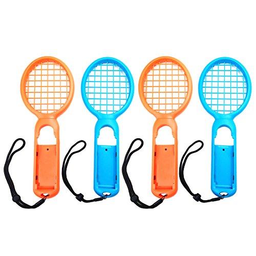 Preisvergleich Produktbild Likecom Tennis Rackets für Nintendo Swith Joy-Con Controller, 2 Paare Zubehör für Mario Tennis Aces Game - Orange + Blau