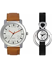 SVM VL27VT11 New Couple Combo Designer Stylish Leather & Plastic Belt Analog Watch For Men & Women