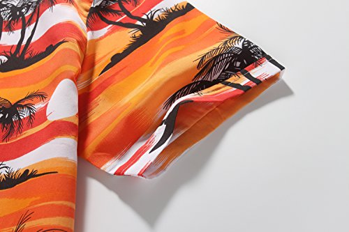 SSLR Herren Kokospalme Druck Sommer Strand Kurzarm Hawaii Hemd Orange