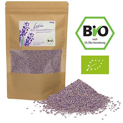 BIO Lavendelblüten getrocknet und essbar von LAVODIA, 100% rein und natürlich, köstliche Bio Lavendel Blüten blau ganz zum Essen, für Tee oder als Duft, 100g -