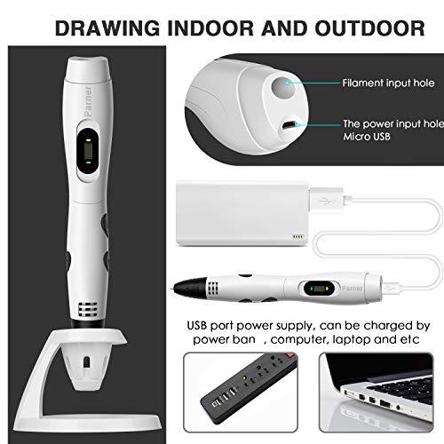 3d stifte, Parner 3D Stift mit 12 Verschiedenen PLA Farb Ersatzminen, 3D Pen für Kinder Sicher und Einfach zu Benutzen, 3D Stifte Set für Jung und Alt - 5
