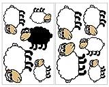 plot4u 10-Teiliges Süße Schafe Wandtattoo Set Kinderzimmer Babyzimmer in 5 Größen (2x16x26cm Mehrfarbig)