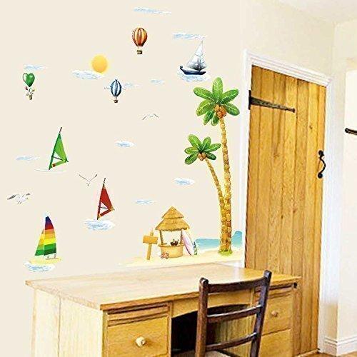 walplus-adesivi-murali-per-la-camera-dei-bambini-barca-a-vela-alberi-noce-di-cocco-spiaggia-mare