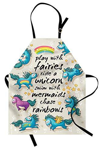 Cartoon-Schürze, mythische Einhörner mit Sternen und Regenbogen Legendary Creature Kids Theme Print, Unisex-Küchenschürze mit verstellbarem Hals zum Kochen Backen Gartenarbeit, Beige Teal Blue (Hals-sterne-print)